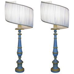 Pair of Italian Round Table Lamps 1810 Blue and Yellow Painted Wood Candlesticks