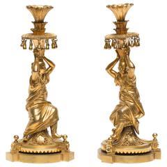 Rare Pair of Gilt-Bronze 'Chinese' Figural Candlesticks, circa 1790-1800