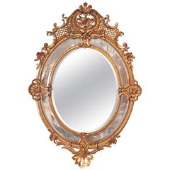 19th Century French Louis XV Fine Gilt Carved Oval Mirror