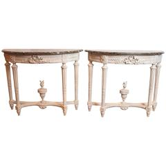 Pair of 19th Century French Louis XVI Painted CrèmeConsoles