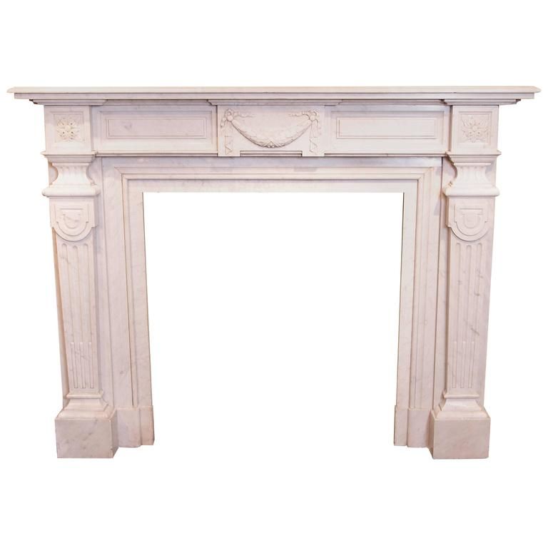 19th Century Louis XVI Carrara Marble Mantel