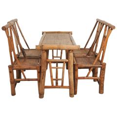 Quirky French 1950s Set of Bamboo and Rattan Table with Four Chairs