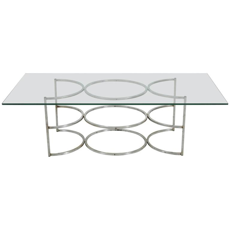 1960s Coffee Table with Chrome Circle Base and Glass Top