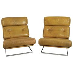 Pair of Nucleus 1970s Leather and Chrome Low Chairs