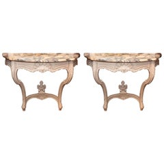 Pair of French Louis XV Painted Console Tables with White and Gray Marble Tops