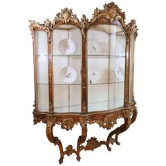 18th Century Italian Wall Mounted Display Cabinet in Carved Foliate Giltwood