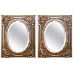 Pair of Gray Painted and Silver Beveled Mirrors