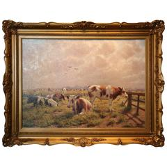 Oil on Canvas 'Cattle Grazing in a Pasture' by Albert Caullet Signed a Caullet