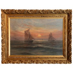 "Oil on Canvas, Ships at Sunset Signed Lower Left ""Romain Steppe"""