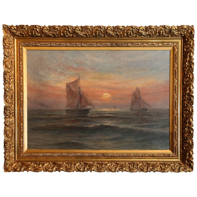 """Oil on Canvas, Ships at Sunset Signed Lower Left """"Romain Steppe"""" For Sale"""