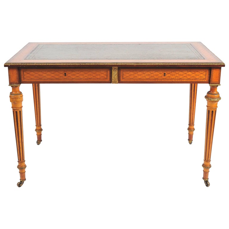 19th Century Parquetry Inlaid Writing Table, in the Manner of Donald Ross For Sale