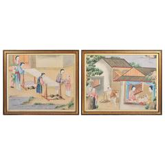 Pair of 19th Century Chinese Canton Watercolors