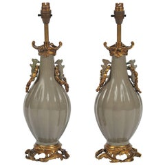 Pair of 19th Century Chinese Celadon Lamps
