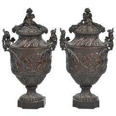 Pair of 19th Century Louis XVI Style Bronze Urns