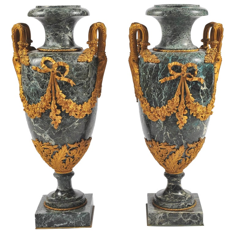 Large Pair of 19th Century Green Marble and Ormolu Urns For Sale