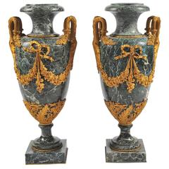 Large Pair of 19th Century Green Marble and Ormolu Urns