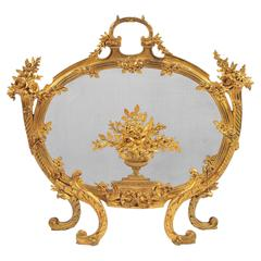 19th Century Louis XV or Louis XVI Style Fire Screen