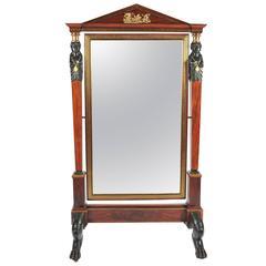 Impressive 19th Century Empire Influenced Cheval Mirror