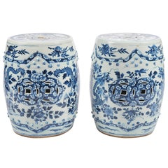 Pair of 19th Century Chinese Blue and White Garden Seats