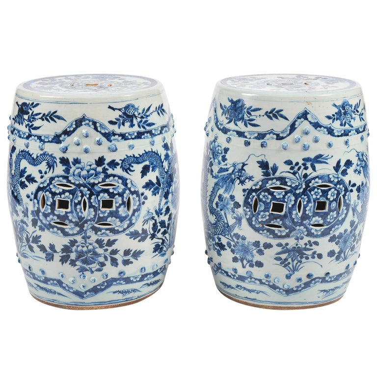 Pair of 19th Century Chinese Blue and White Garden Seats For Sale