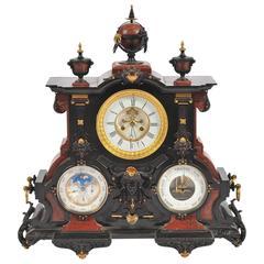 Impressive 19th Century Perpetual Calendar Triple Dial Mantel Clock