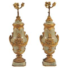 Large Pair of Louis XV / XVI Marble Urns/Lamps