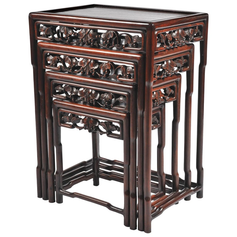Nest of Four 19th Century Chinese Hardwood Tables For Sale