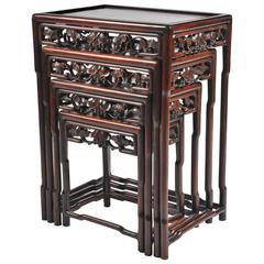 Superbe Nest Of Four 19th Century Chinese Hardwood Tables