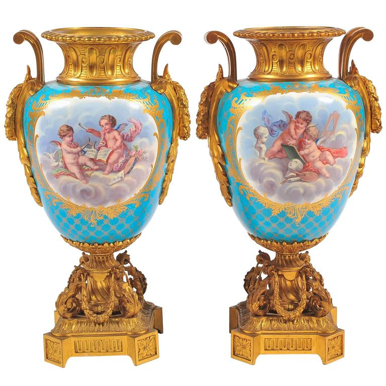 19th Century Pair Of French Ormolu Mounted Svres Lidded Urns Vases