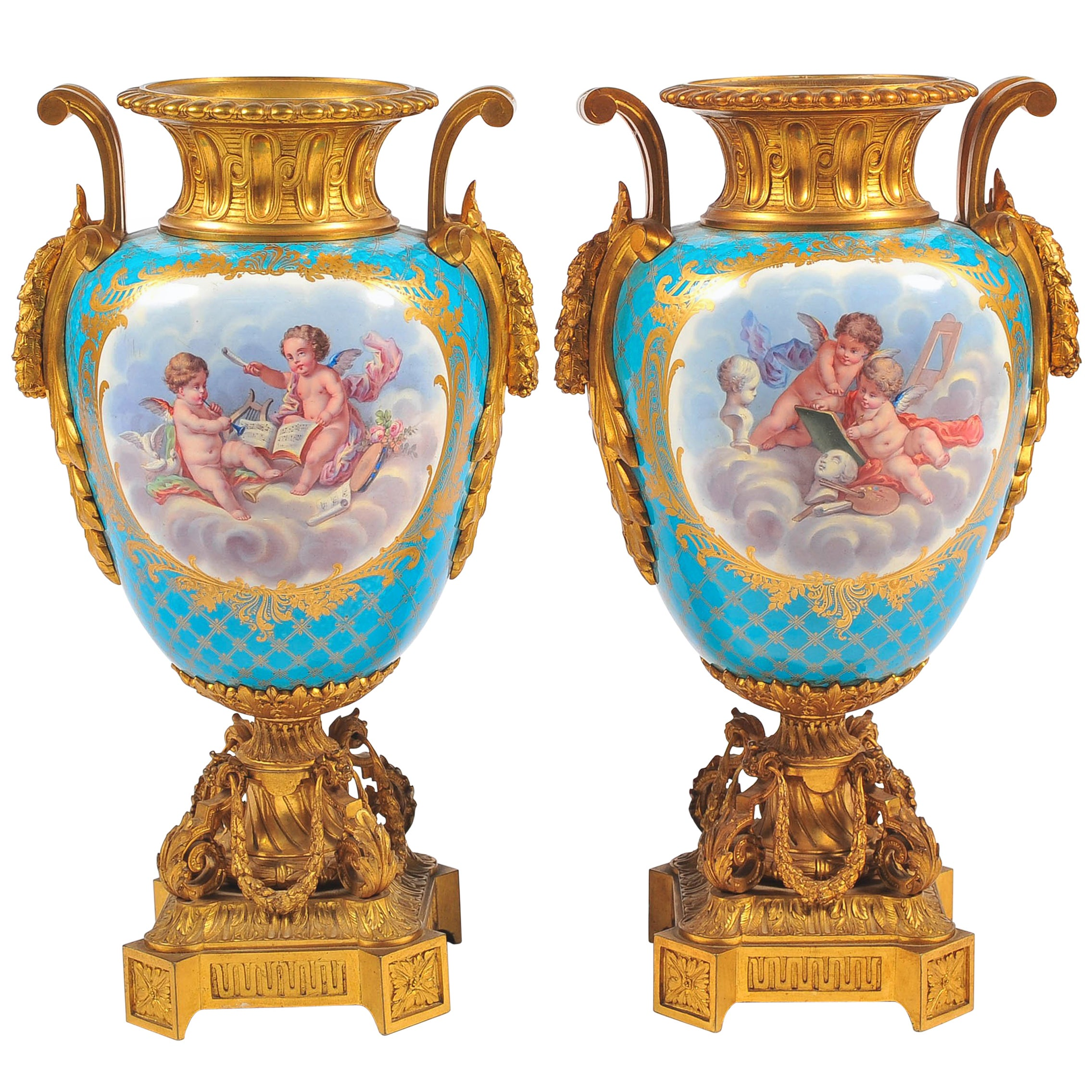 Pair of 19th Century Sevres, Ormolu-Mounted Vases