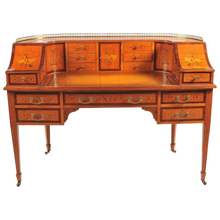 Edwardian Satinwood Carlton House Desk For Sale