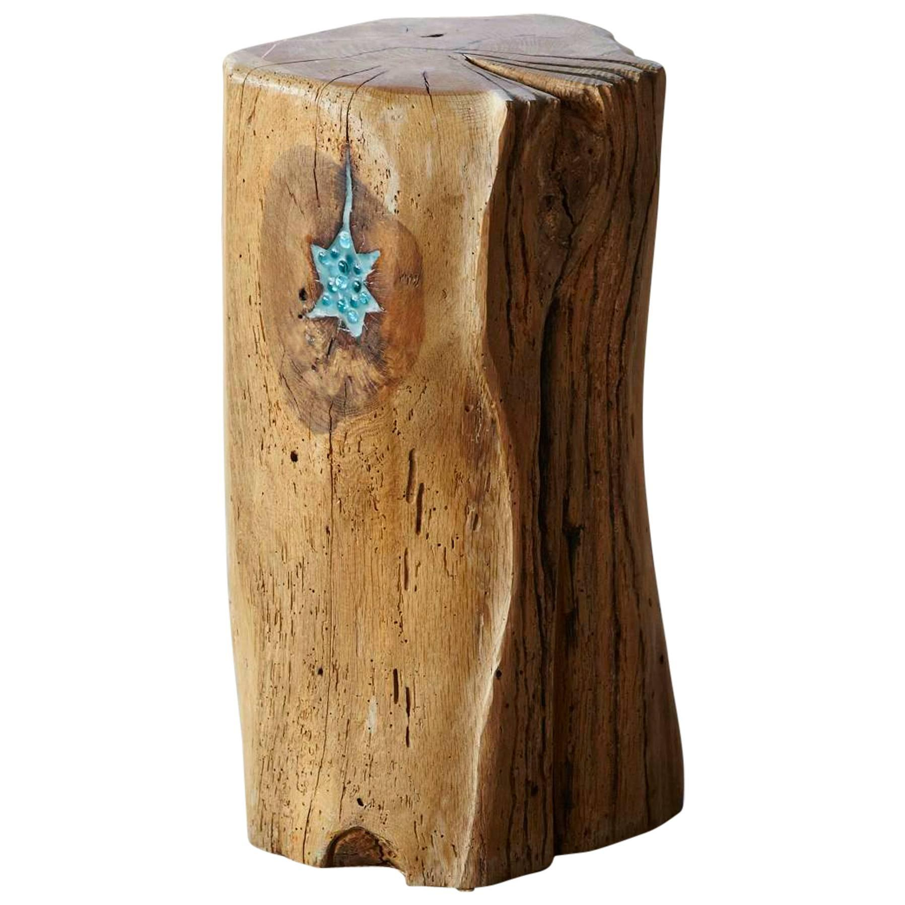 Stern, Stool by Hanni Dietrich - Carved Oak Stool with Resin Inlay