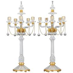 Victorian Crystal and Gilt Bronze Candelabra by F. & C. Osler