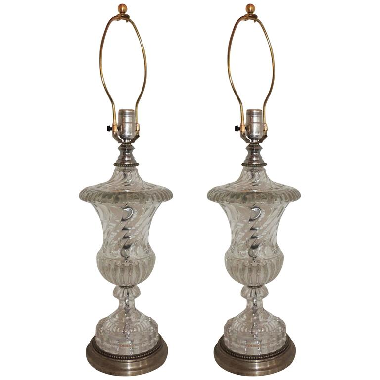 Wonderful Pair Silver Bronze Baccarat Style Swirl Glass Urn Form Crystal  Lamps For Sale