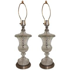 Wonderful Pair Silver Bronze Baccarat Style Swirl Glass Urn Form Crystal Lamps