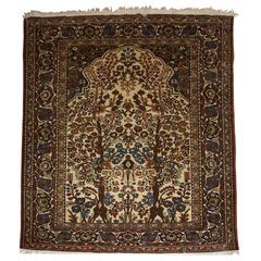 Old Isfahan Prayer Rug with a Very Traditional Floral Garden Design