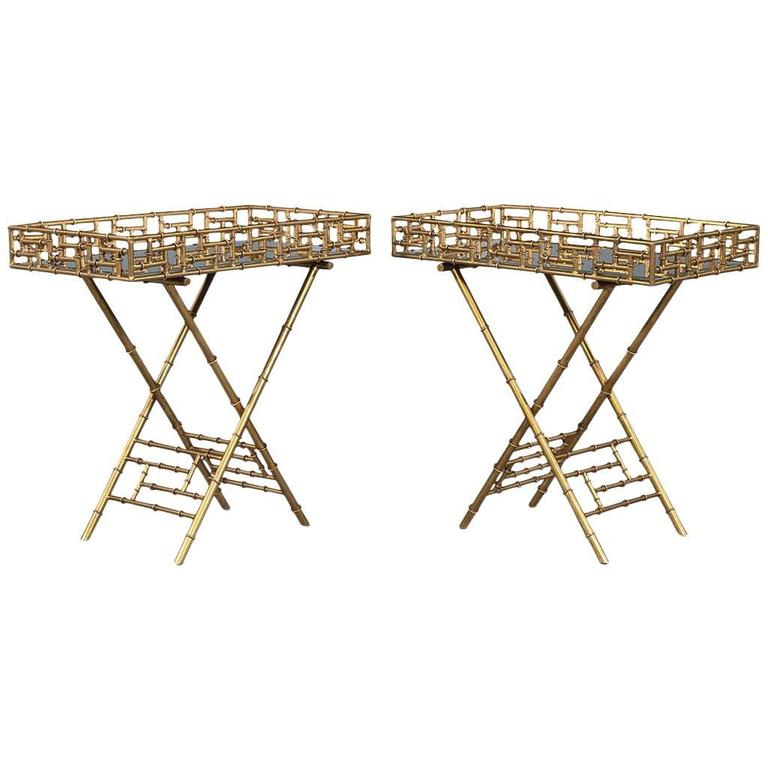 Pair of Gilded Faux Bamboo Accent Tables