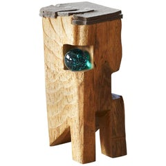 Filz - Stool by Hanni Dietrich - Carved Oak with Felt and Glass