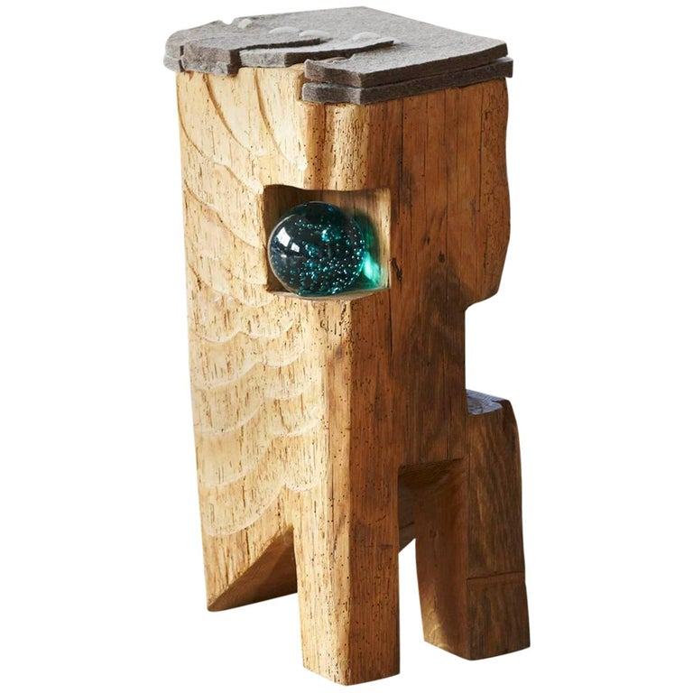 Filz - Stool by Hanni Dietrich - Carved Oak with Felt and Glass For Sale