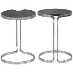 Pair of Stainless Steel and Cerused Oak Lilly Pad End Tables
