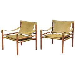 Pair of Arne Norell 'Sirocco' Safari Chairs, Aneby Mobler, Sweden, 1960s