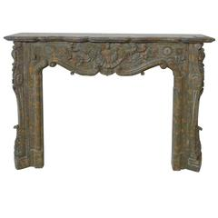 Rare 19th Century Napoleon III Brown Marble Mantel Hand-Sculpted with Flowers