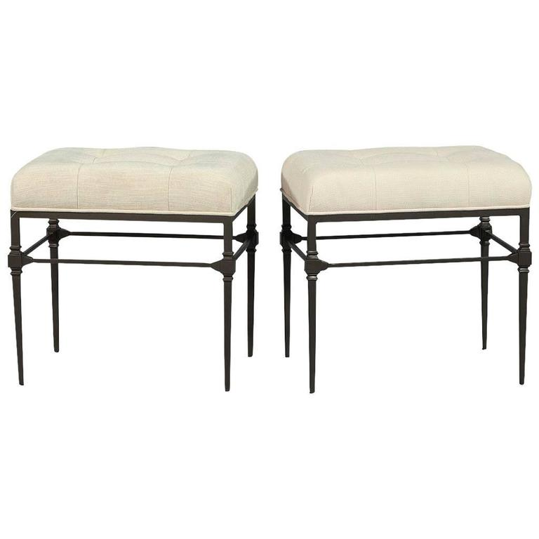 Pair of Tufted Bernhard Stools in Linen