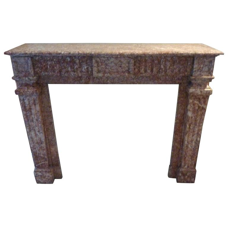 Wonderful 19th Century Louis Xvi Style Mantle Made of Pyrenees Pink Marble