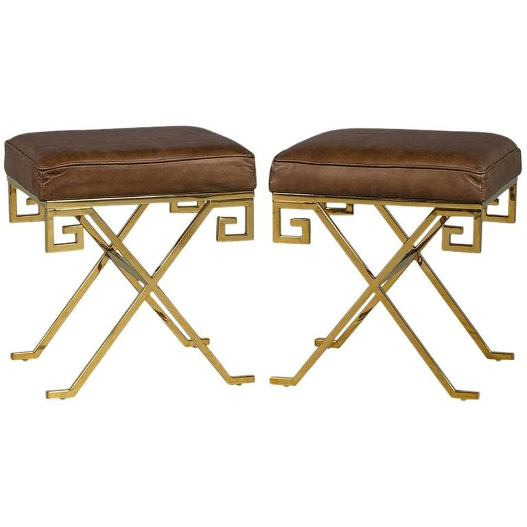 Pair of Compact Cognac Leather and Brass Greek Key Framed Stools
