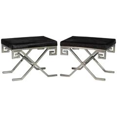 Pair of Compact Black Hide and Stainless Steel Greek Key Framed Stools