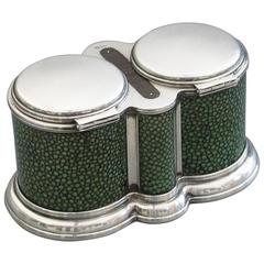 George V Shagreen Mounted Silver Double Table Vesta Case