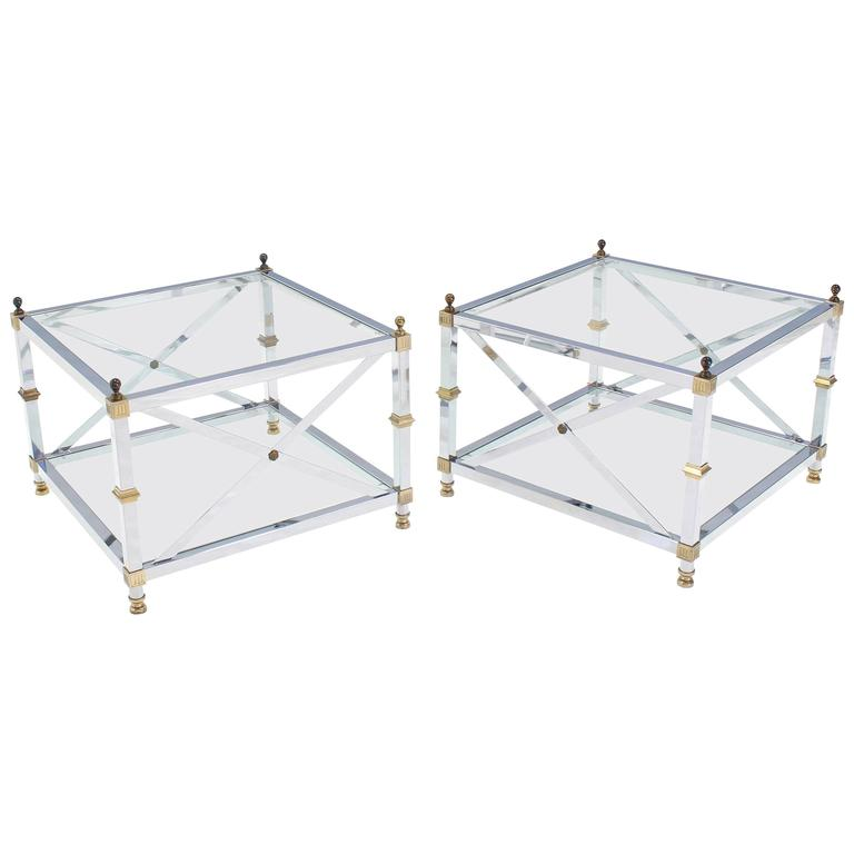 Pair of large square jansen chrome brass glass side end tables mid pair of large square jansen chrome brass glass side end tables mid century for sale watchthetrailerfo