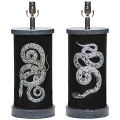 Pair of Liz Marsh Eden Glass Lamps Serpents Noir