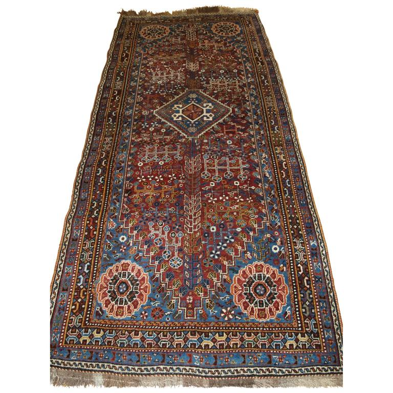 Qashqai Shiraz Rug: Antique Persian Qashqai Runner / Long Rug, With A Classic